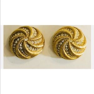 Swarovski Gold Swirl & Crystals Clip On Earrings